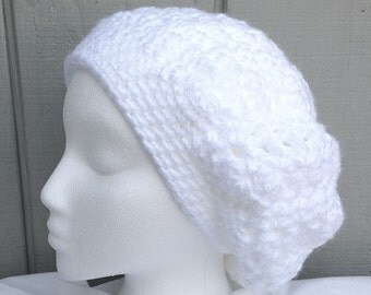White slouchy beanie - Chunky slouchy hat - Crochet white hat - Womens hat - Teens accessories