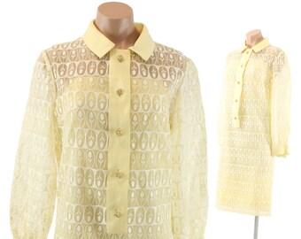 Vintage 60s Shift Dress Sheer Buttercream Fabric White Embroidered Tulips Long Sleeves 1960s Medium M Carlye Mod Mini Dress