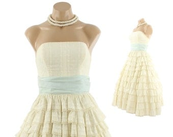 Vintage 50s Wedding Dress Prom Dress Embroidered Lace Dress Strapless Dress Ivory Cotton Formal Fashion 1950s Small XS S Ruffled Dress