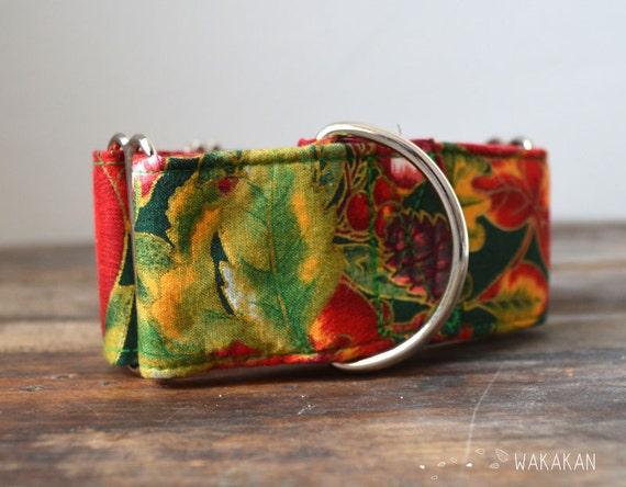 Martingale dog collar model Apple Pine, Christmas. Adjustable and handmade with 100% cotton fabric. Halloween Wakakan