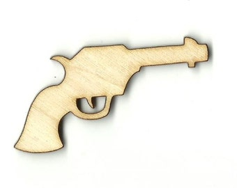 Gun Pistol  Laser Cut Unfinished Wood Shapes  Variety of Sizes Craft Supply DIY WPN377
