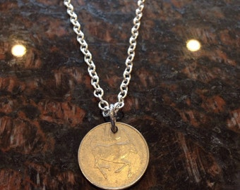 Botswana 10 thebe coin necklace