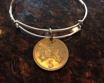 British 5 pence expandable style wire bangle bracelet