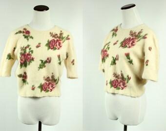 Angora Pink Rose-print Creme Cropped Sweater