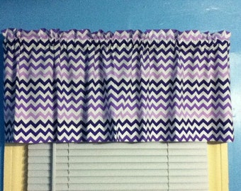 Purple White  orange black turquoise gray chevron zigzag striped Lined and Unlined curtain valance