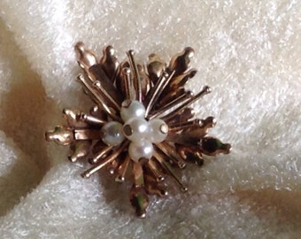 Vintage Cultured Pearl Pin GF Wow!