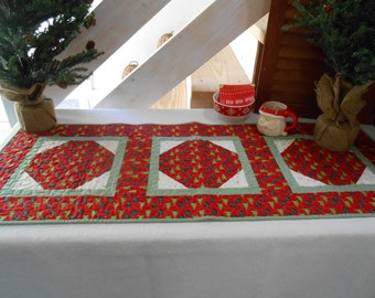 Quilted Christmas Table Runner, Winter Table Runner, Red Green Table Mat, Christmas Table Topper, Christmas Trees, Item #280