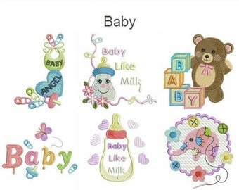 Baby Machine Embroidery Designs Instant Download 4x4 hoop 10 designs SHE5030