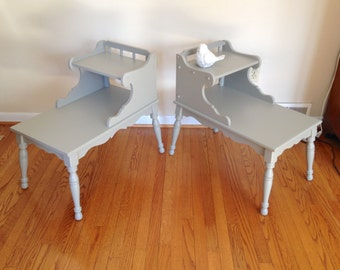 Two Gray End Tables, Side Tables