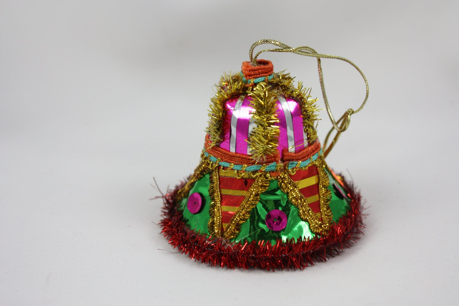 Festive vintage christmas bell ornament hand made bright