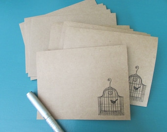 Bird cage note cards-set of 6,blank cards,stationery sets,all occasion cards,brown kraft card sets,stamped card sets,handmade/homemade cards