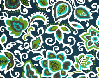 Indoor Outdoor Fabric Navy Blue Green & Turquoise Fabric by the Yard Curtains Cushions Upholstery Stain Resistant Floral Fabric S109