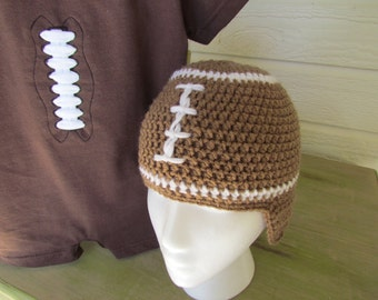 Crochet Football hat with earflaps