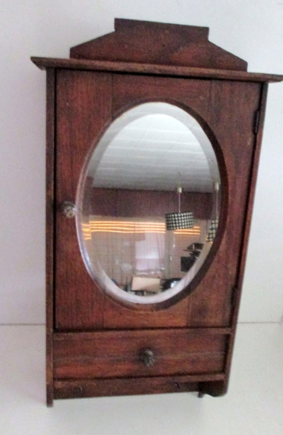 Antique French Carved Medicine Bathroom Wall Cabinet Oval