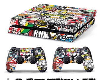 PS4 SKIN sticker bomb + 2 controller sony playstation 4 sticker decal