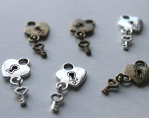 Heart Key to my heart charm Charms Silver tone Antique Bronze pendants valentines day valentine day