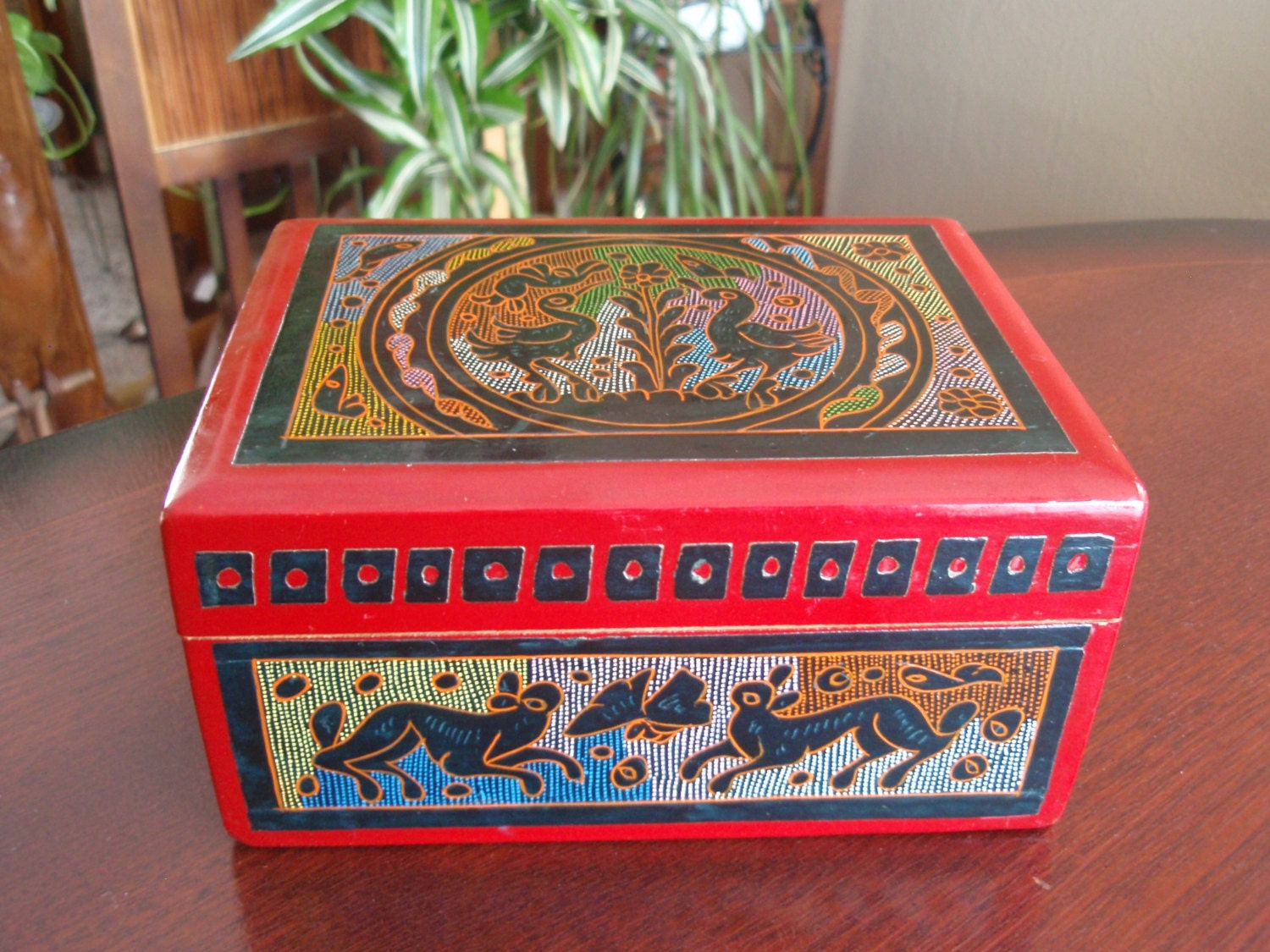 Decorative Box Lid : Red decorative wood trinket box hinged lid by