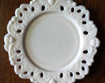 6 Milk Glass Angel Plates