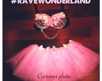 Women's EDC Tribal Rave Festival Pink Flower Bra and Pink Tutu Top Bottom Full Outfit Costume