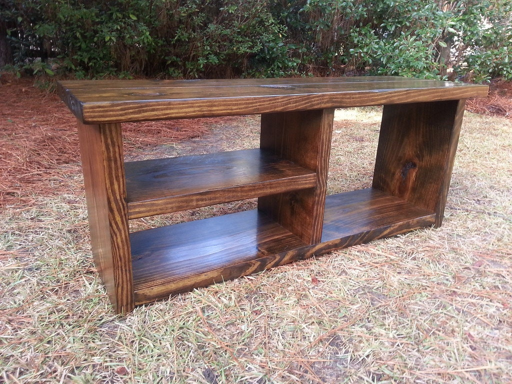 Foyer Boot Bench : Rustic boot bench with shoe rack and by coastaloakdesigns
