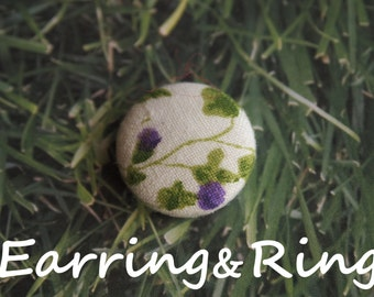 Cream, purple, and green flower fabric covered button earrings, fabric covered button clip on earrings, fabric covered button ring