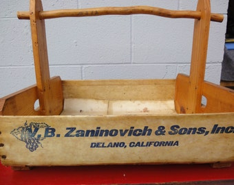 Original Grape Carrier/Handmade Basket/V.B.Zaninovich and Sons/Delano California
