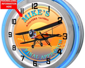 Aviator Pilot Double Neon Clock