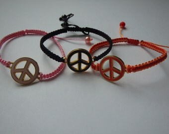 3 peace macrame friendship bracelets, multicolored, girl's birthday