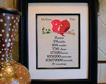 2nd Anniversary Cotton Gift - Wedding Gift - Love Birds - Valentine Print - Housewarming Gift - Cotton Anniversary Gift 2nd year (an115)
