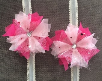 Valentine's Day Two-tone Pink Shabby Flower Pigtail Bows