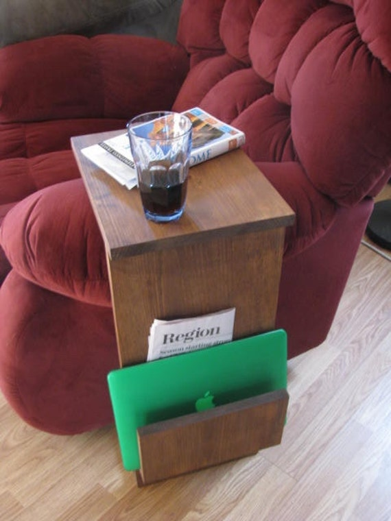Sofa Chair Arm Rest TV Tray Table Stand with Side Storage Slot