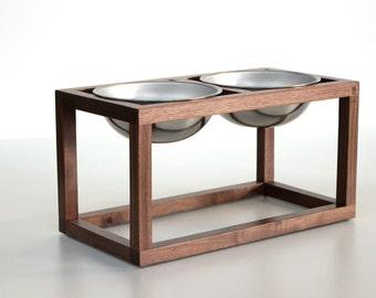 Modern Wood Dog Feeder - Double