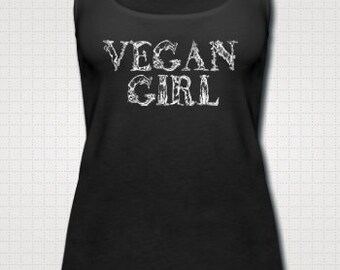 Vegan Girl Animal Letters Vintage Art Font Illustrated Womens Cotton Tank Top Vest Vest *Various Colours*