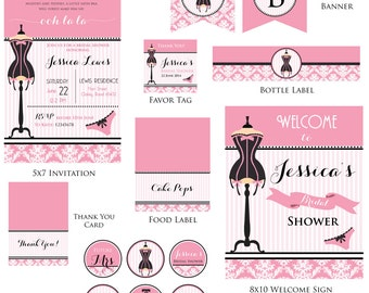 Customized Lingerie Digital Printable Bridal Shower Invitation and Party Kit