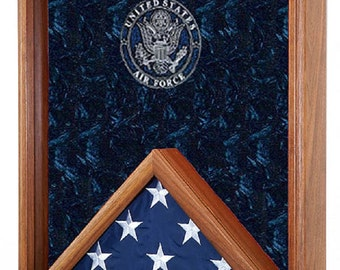 Military 3x5 Flag & Medals Shadow Box - 3x5 Flag, Medals and Awards Display Case w/ Laser Engraved Military Emblem