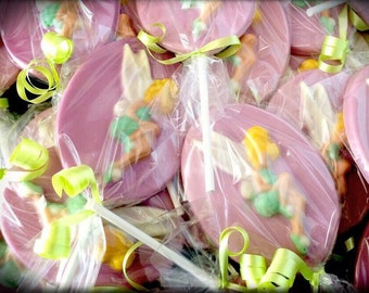 Tinkerbell lollipops. Tinkerbell party favors. Tinkerbell birthday party favors. Tinkerbell