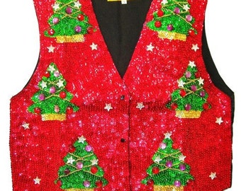 Sequin Vest Red w/Christmas Tree