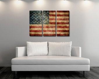 Triptych Vintage American Flag,Canvas Print,Flag Poster,Vintage Print,Kitchen Art,Home Decor, Nature Print, Antique Wall Art [PXCF0029TC-C]