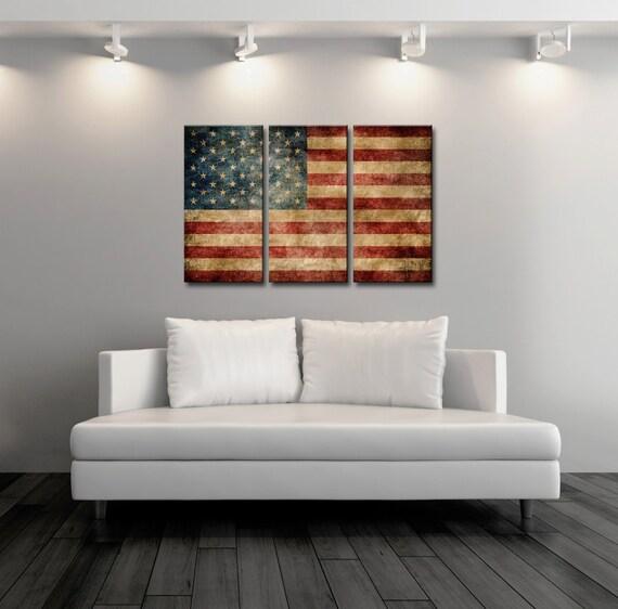 triptych vintage american flagcanvas printflag postervintage printkitchen art