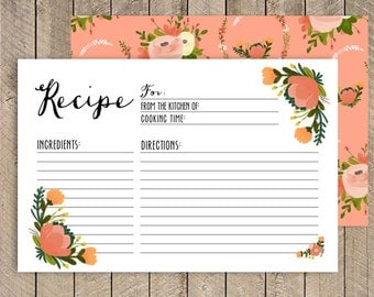 50% OFF.4x6 recipe cards, Coral recipe card, Printable recipe Card 4x6, instant download recipe Card. Kitchen Shower Recipe Card