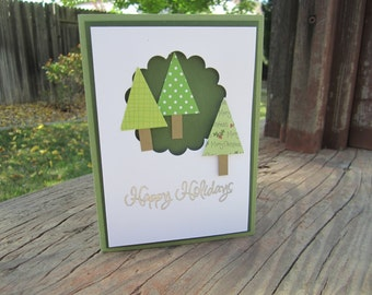 Christmas Card, Happy Holidays, Christmas Tree Trio