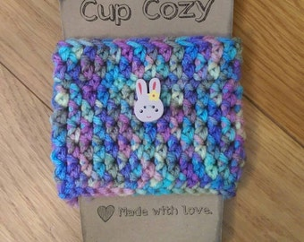 Coffee Cozy - Cup Cozy - Coffee Collar - Coffee Cup Holder - Crochet Cozy - Multicolored - Wooden Button - Ready to Ship - #71
