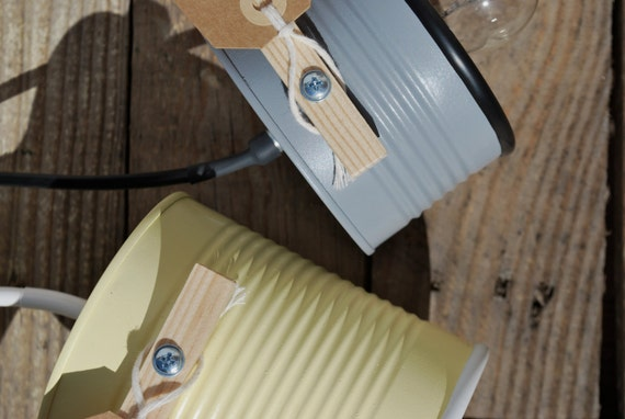 Medium gray + pastel yellow ! desk lamp/ table lamp ...eco friendly, handmade , recycled from tomato can ! EURO, UK, US or Australia plug