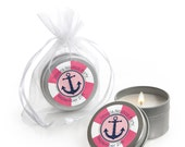 12 Ahoy - Nautical Girl Candle Tin Baby Shower or Birthday Party Favors