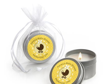 12 Neutral Carriage Candle Tin Baby Shower Party Favors