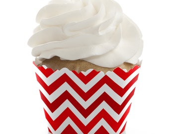 Chevron Red Cupcake Wrappers - Baby Shower Cupcake Decorations - Birthday Party Cupcake Supplies - Set of 12 Bridal Shower Cupcake Liners
