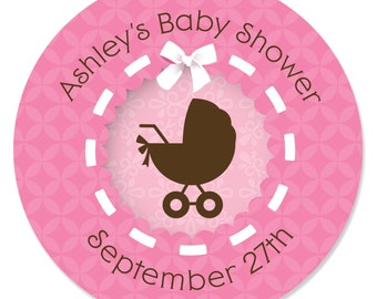 24 Girl Baby Carriage Circle Stickers - Personalized Baby Shower DIY Craft Supplies
