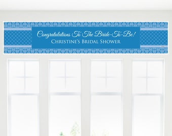Damask Blue Banner - Bridal Shower Decorations - Bridal Shower Party Supplies