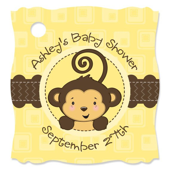 Monkey Baby Shower Party Favors: Monkey Personalized Party Tags