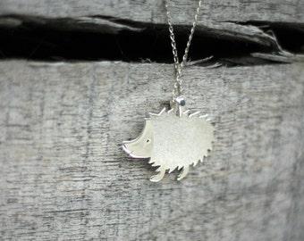 Silver Hedgehog Necklace-Animal Jewelry-Hedgehog Charm-Sterling Hedgehog  Necklace-Hedgehog Pendant